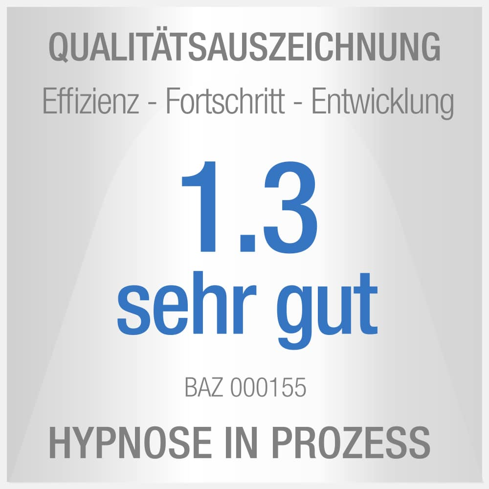 Siegel: Qualitätsauszeichnung mit der Note sehr gut, für psychologie und Hypnose