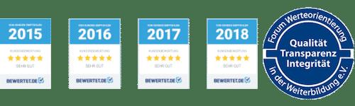 Qualitätsprüfsiegel für die Jahre 2015, 2016, 2017, 2018, 2019